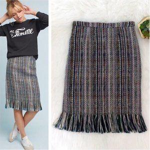 Anthropologie Maeve Twill Fringe Midi Skirt